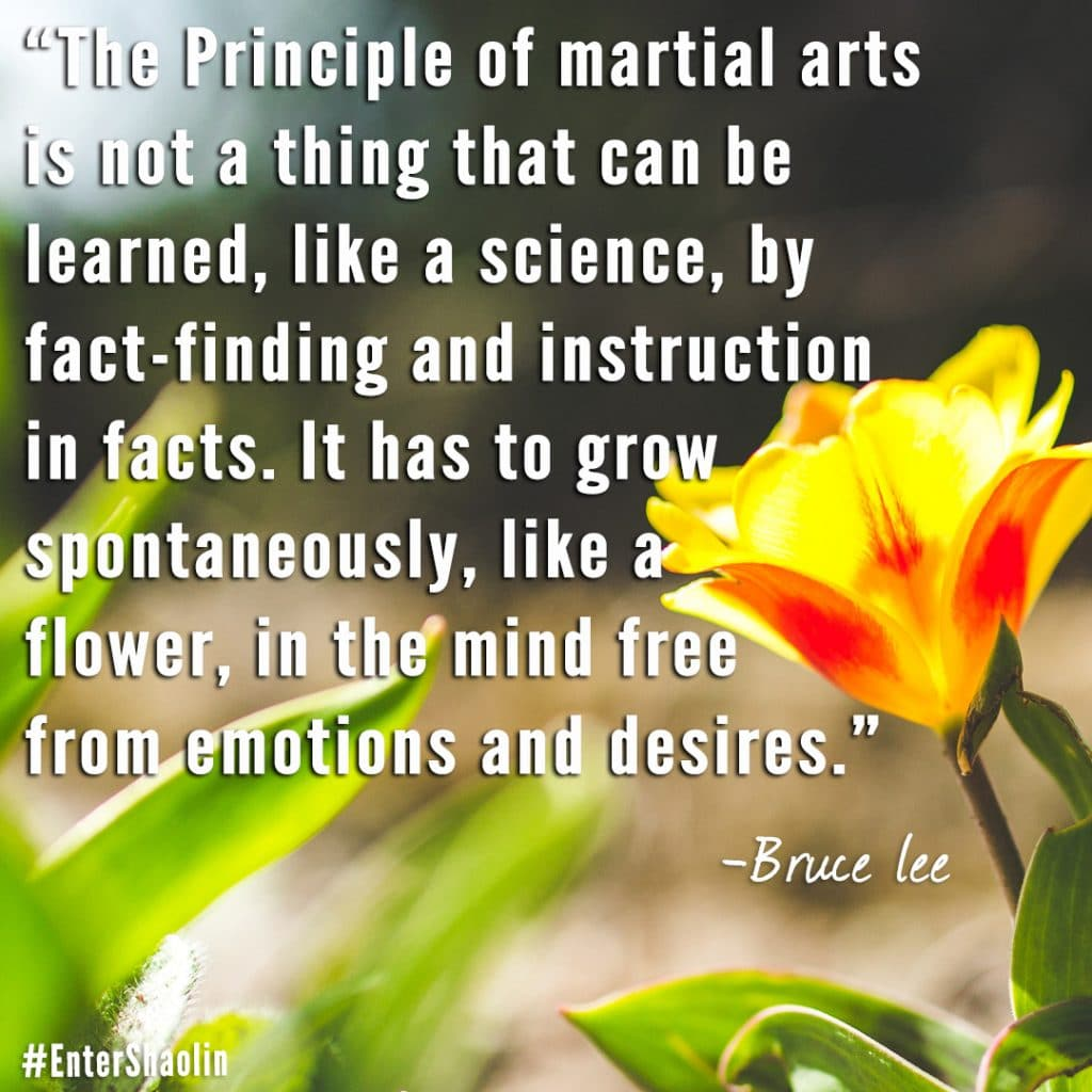 Enter Shaolin shares: The Principle of martial arts is not a thing that can be learned, like a science, by fact-finding and instruction in facts. It has to grow spontaneously, like a flower, in the mind free from emotions and desires. - Bruce Lee